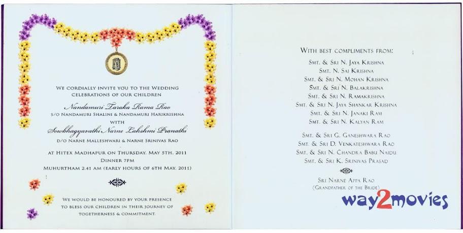 JR.NTR WEDDING INVITATION