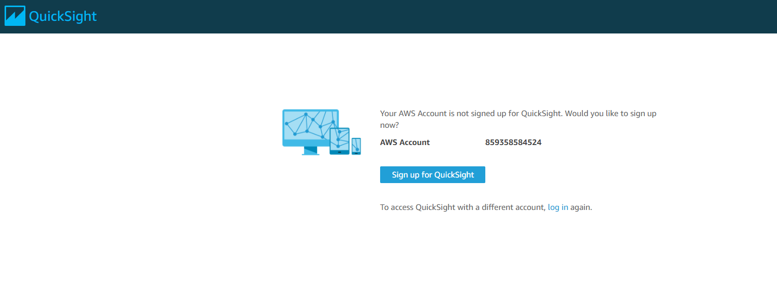 QuickSight Signup Page