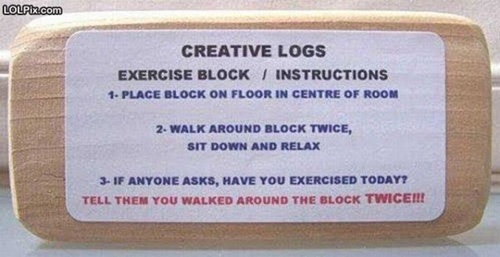 phot of a funny exercise block