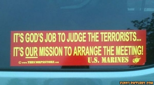photo of a US Marines bumper sticker