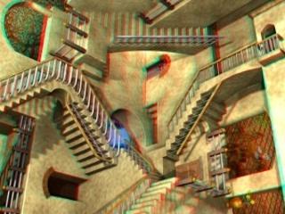 Anaglifo Relatività M.C.Escher fotogramma