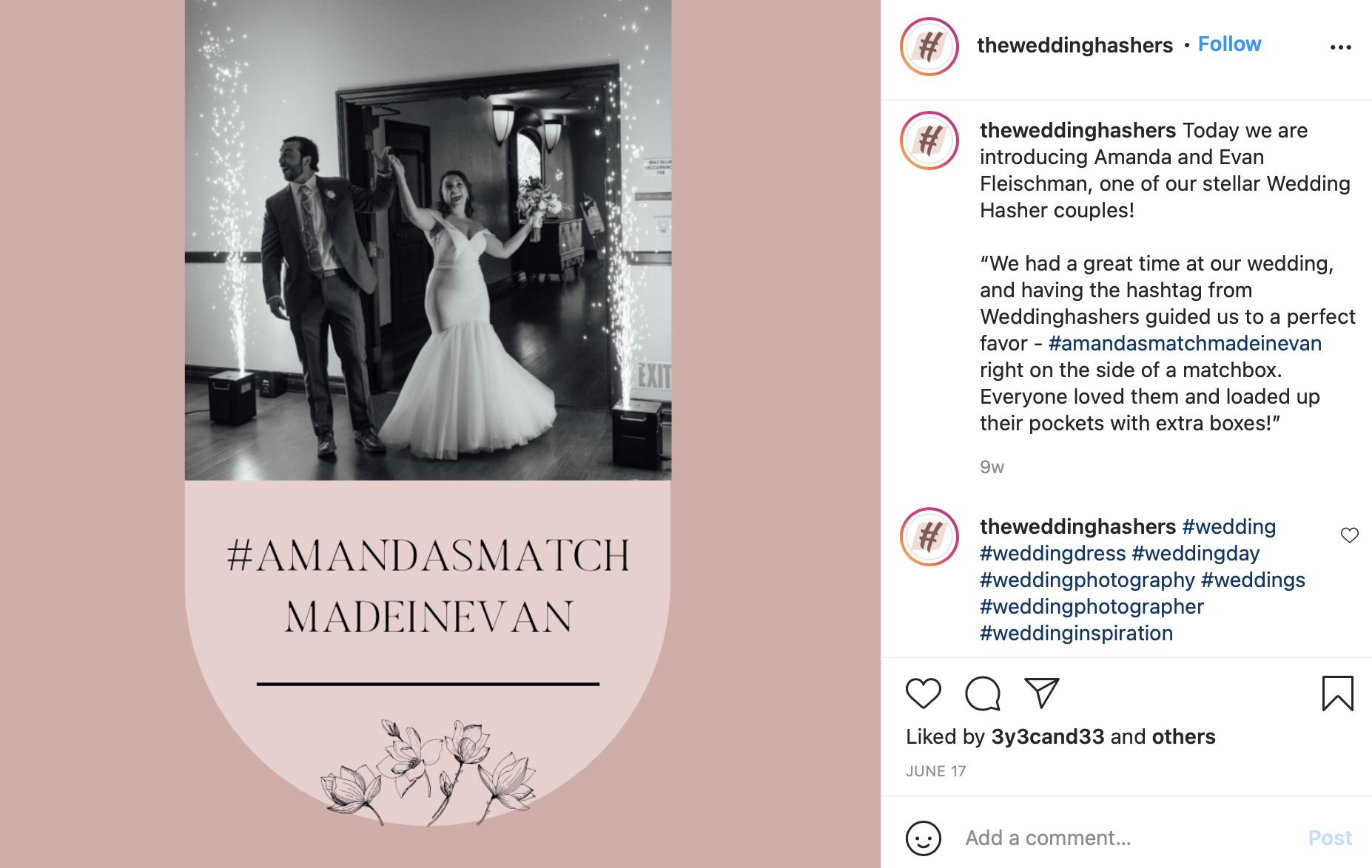 wedding hashtag on matchbox