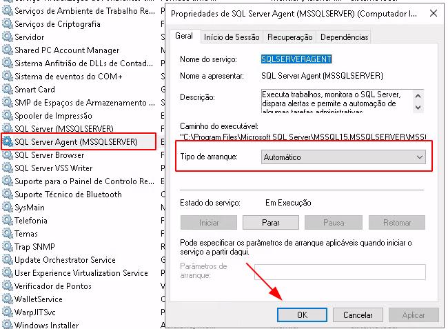 Página principal do services.msc com serviços do Windows, destaque no serviço do SQL Server Agent, pop-up de gerenciamento aberto e configurado para automático.