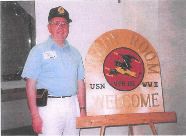 """Bob Gill, the """"go0to guy"""" for all enlisted men, at the third reunion in Pensacola, Florida, spring 1993"""