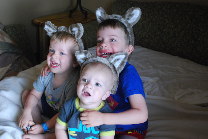 The boys with wolf ears on.