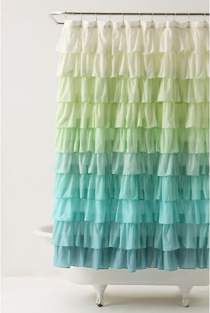 Create Your Own Ombre Ruffle Shower Curtain by Elle Apparel Blog