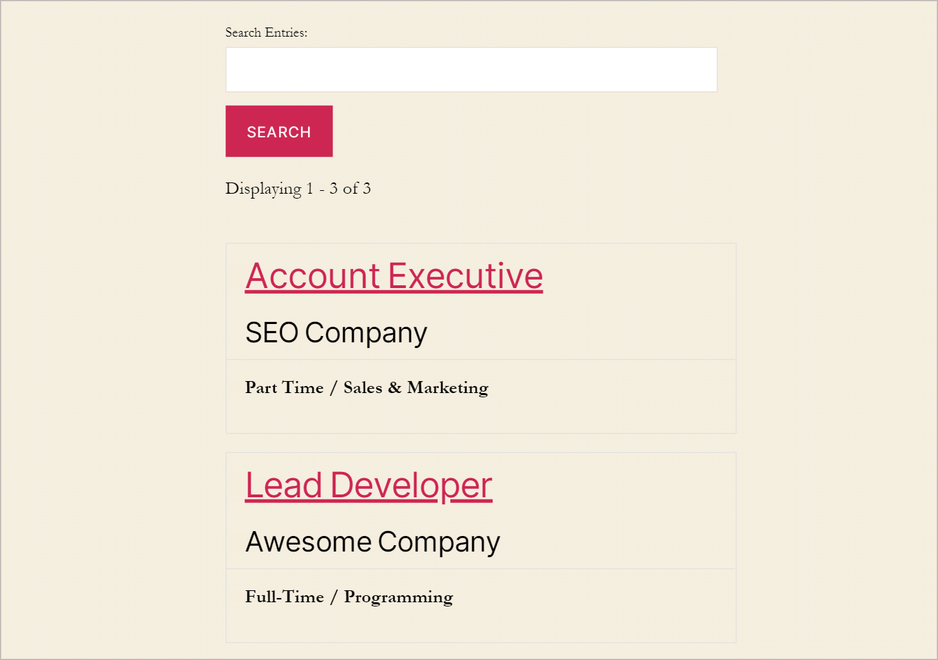 A WordPress job board showing job listings that include the position, company, job type and category