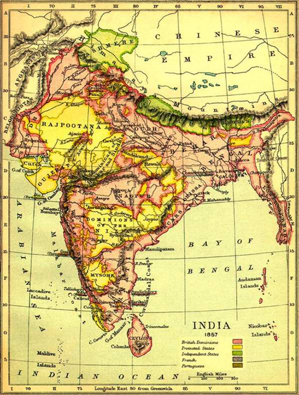 Old India Photos - Map of India in 1857