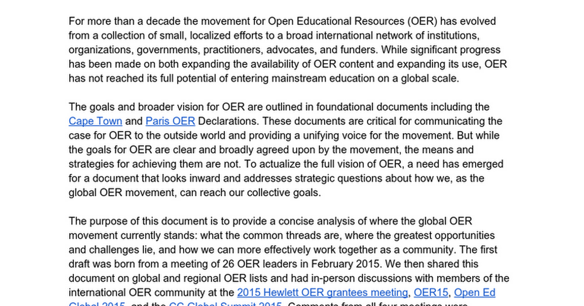 OER Strategy Document | Draft 1.0