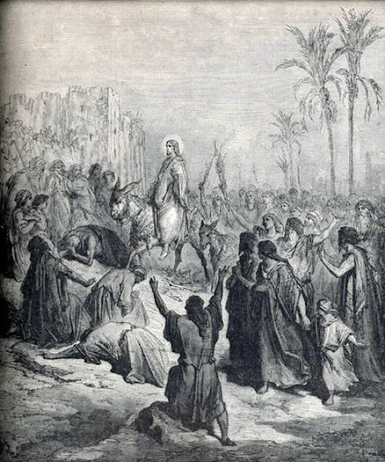 The Triumphal entry, Jesus is welcomed to Jerusalem as King