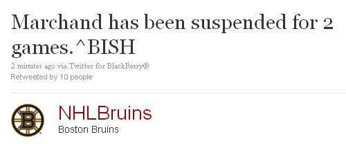 Brad Marchand is suspended 2 games
