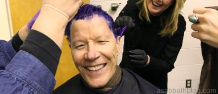 Southern Adventist University president Gordon Bietz getting his hair dyed purple