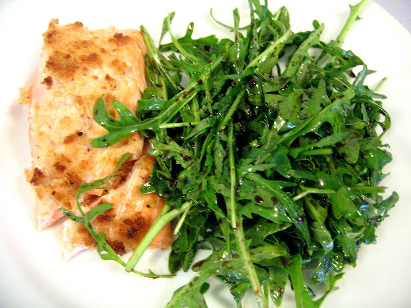 Roasted Salmon with Breadcrumb Topping and Arugula Salad with Balsamic Vinaigrette