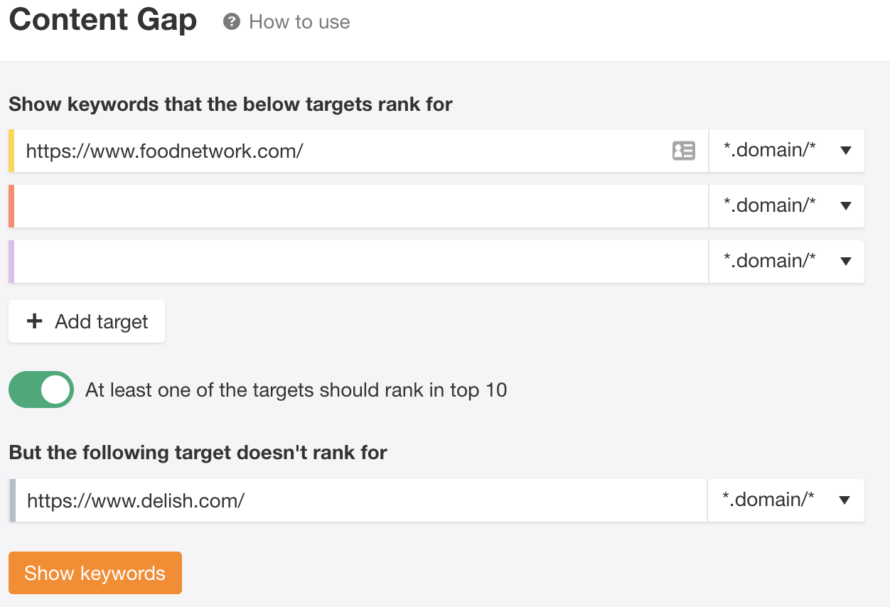 content gap analysis in ahrefs.