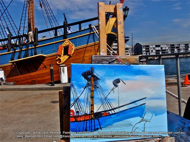 Marine art 'HMB Endeavour' at Darling Harbour  plein air oil painting by artist Jane Bennett