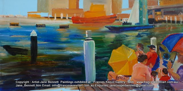 plein air painting of Australia Day Darling Harbour by maritime artist Jane Bennett