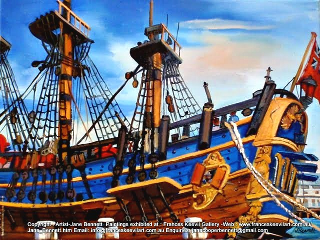 Marine art 'HMB Endeavour' at Darling Harbour oil painting by artist Jane Bennett