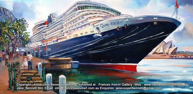 Marine art plein air oil painting of the 'Queen Elizabeth 2' docking at Circular Quay by marine artist Jane Bennett