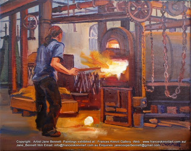 oil painting by industrial heritage artist Jane Bennett of blacksmith forging at Wrought Artworks, Eveleigh Railway Workshops, Australian Technology Park