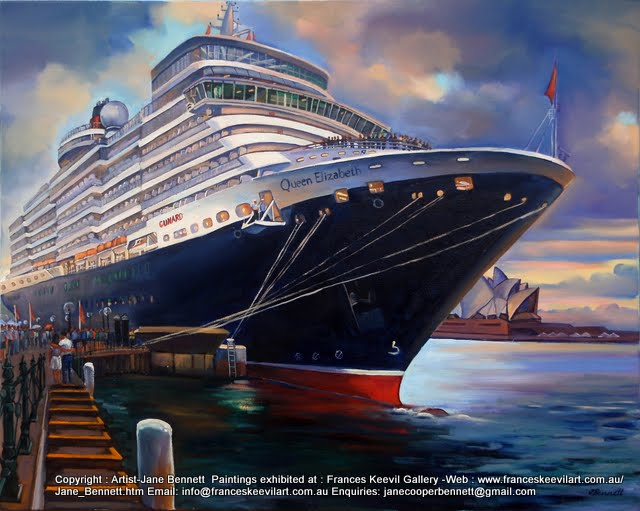 plein air oil painting of the 'Queen Elizabeth 2' docking at Circular Quay by maritime artist Jane Bennett