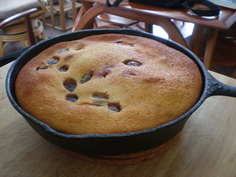 Straight out the oven the clafouti is golden brown and puffed but will fall when cool