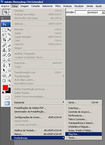 menu de preferências de plugin