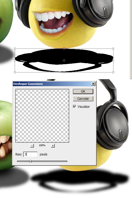 Aplique Gaussian Blur na sombra