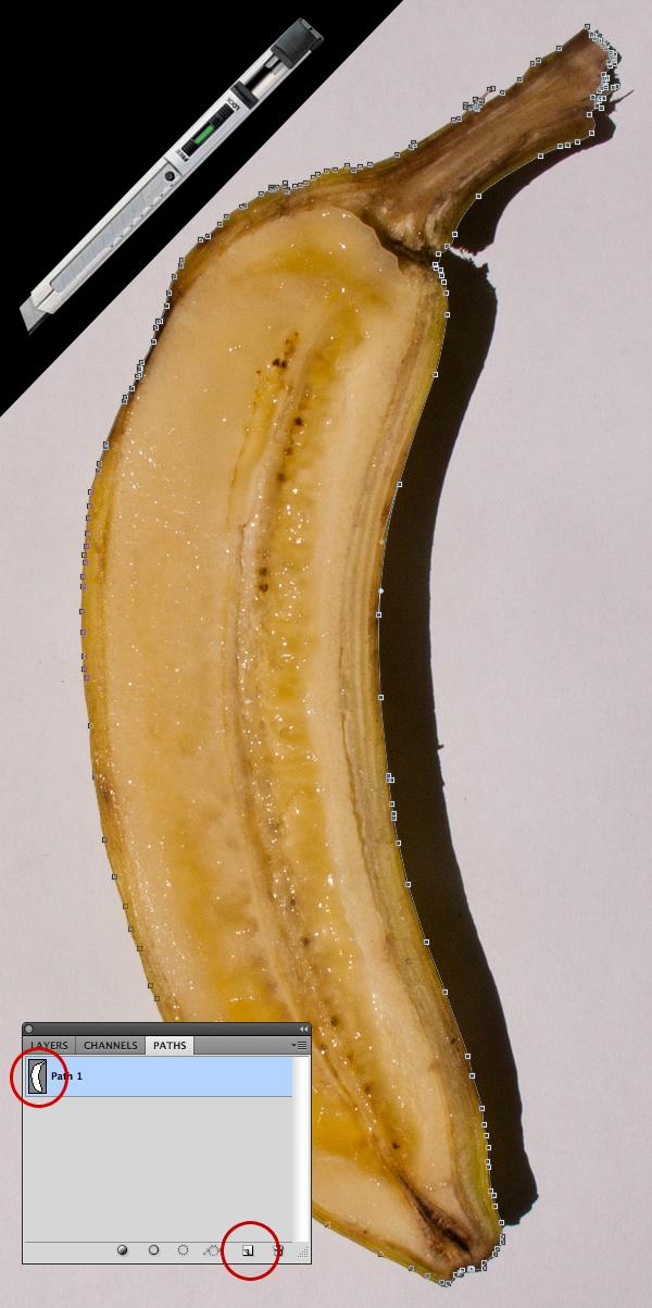 Criação do demarcador em torno da banana