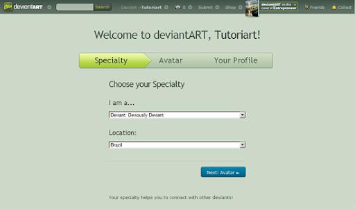 Escolha sua especialidade artística
