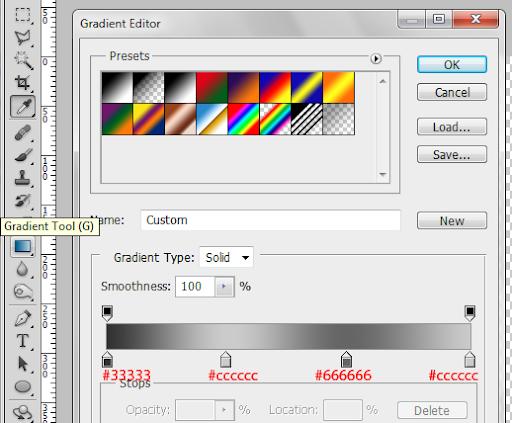 Configuração da Gradient Tool (Ferramenta Degradê)