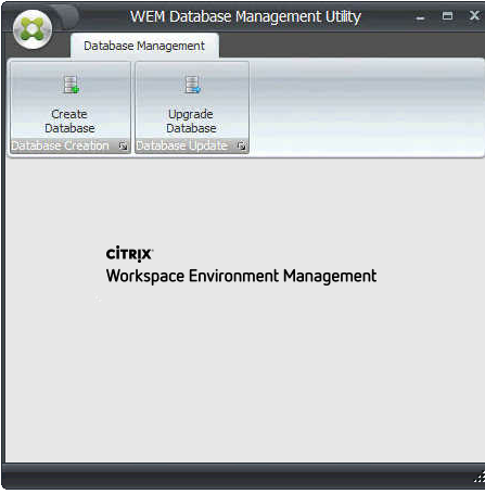 Machine generated alternative text: WEM Database Management Utüt-y  Database Management  Create  täB*e r Stibn :  Upgrade  ÜætöbSSe pdzte  ciTR!X•  Workspace Environment Management