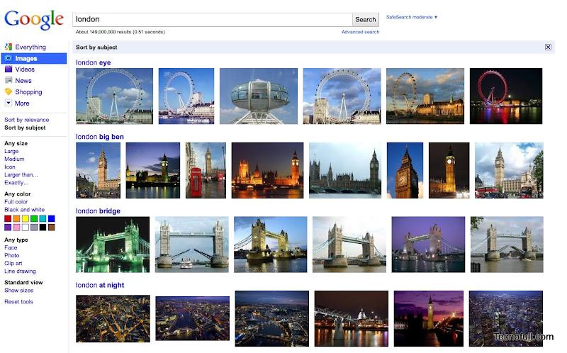 Google Imagenes resultados ordenados por tema