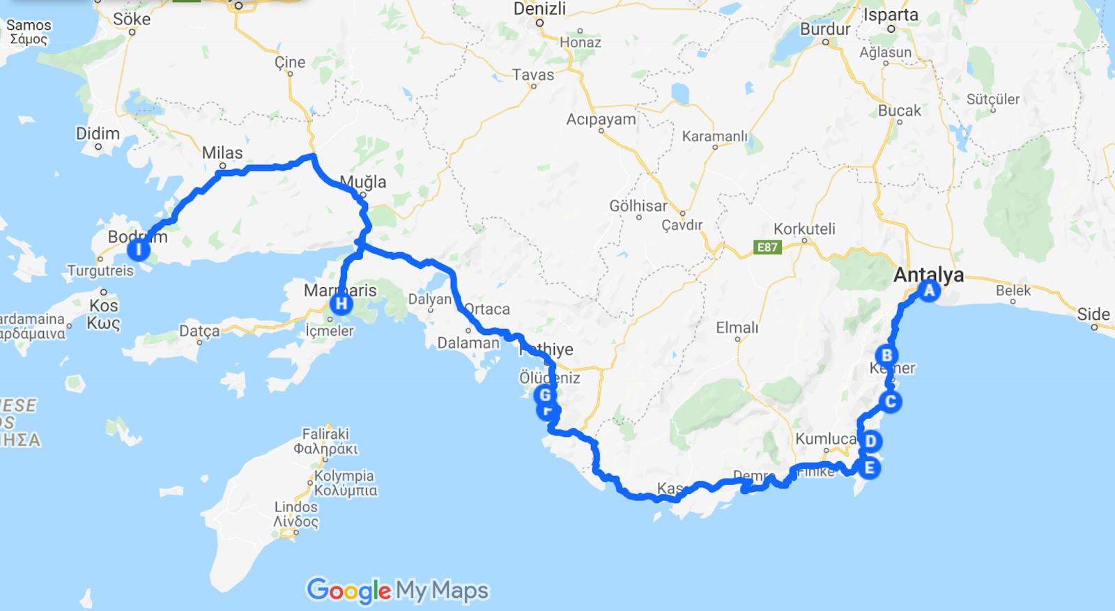 antalya to bodrum turkish riviera road trip itinerary schedule google maps
