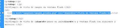 Ejemplo de uso de Shadowbox para mostrar imagen en ventana Flash incrustada
