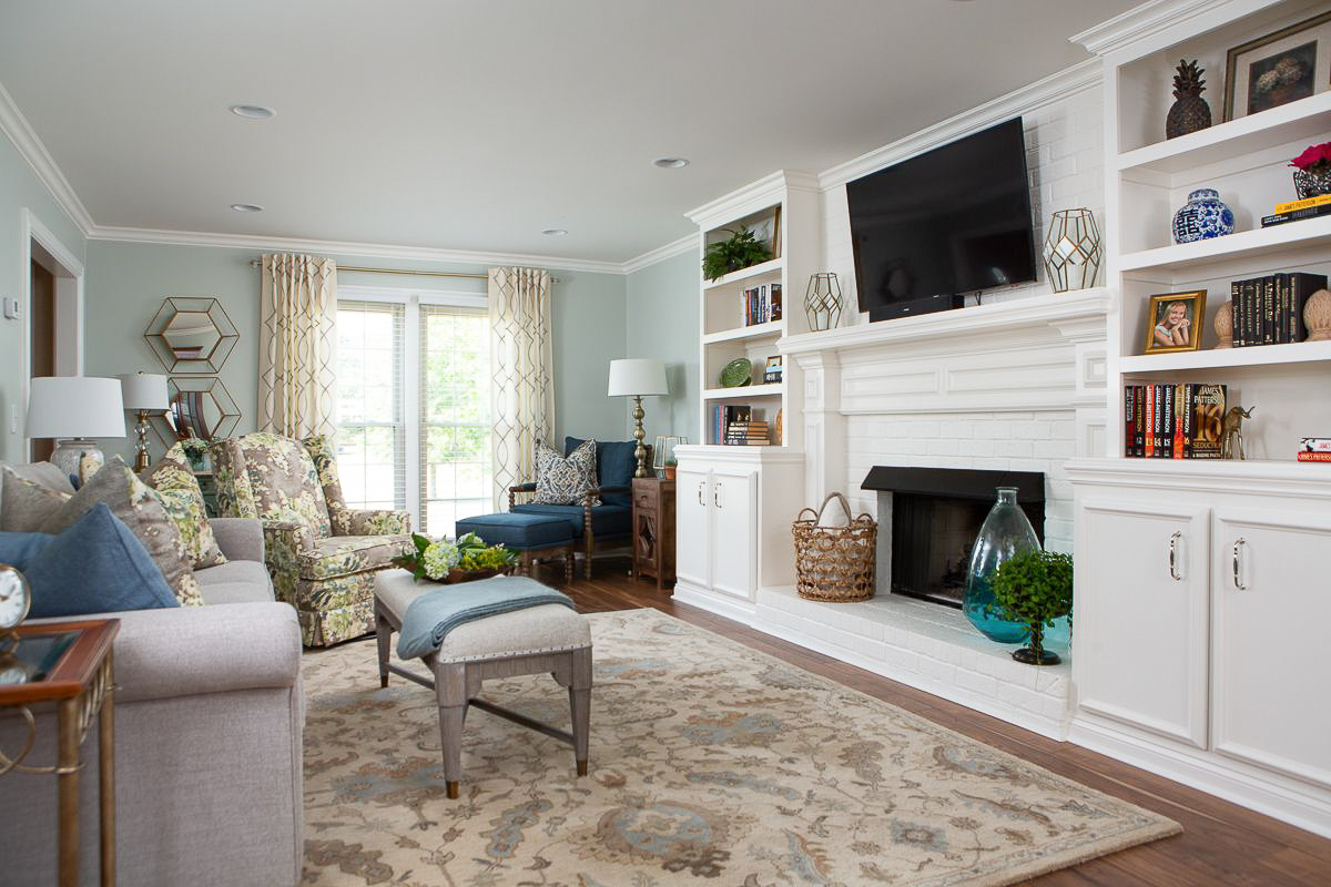 mt juliet tn traditional interior design renovation white built-in shelving around fireplace superior construction