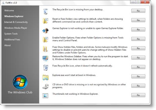 Riparare i problemi di Windows 7 con FixWin