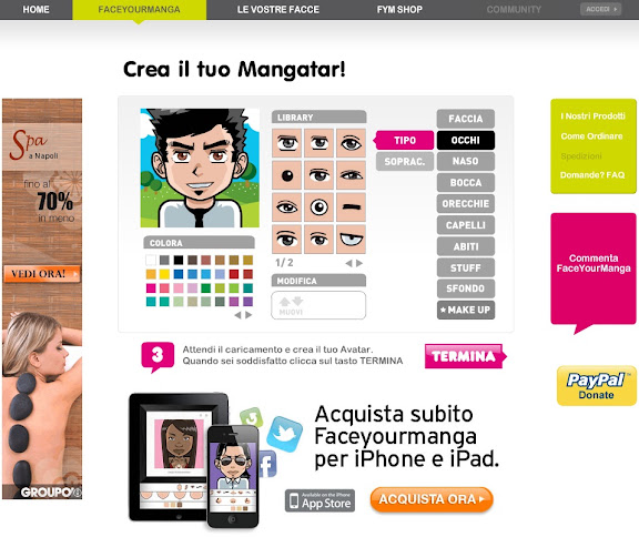 Crea il tuo avatar su Face Your Manga