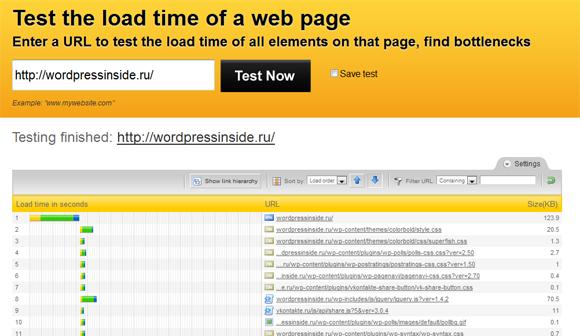 скорость загрузки сайта Сервис Pingdom