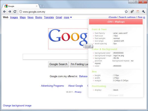 CSSViewer Google Chrome