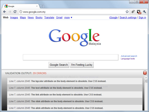 HTML Validator Google Chrome