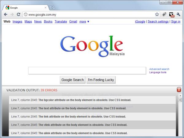 HTML Validator Google Chrome