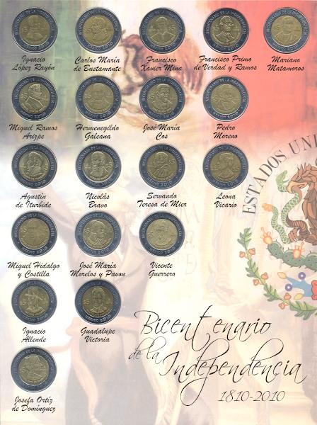 Monedas conmemorativas de cinco pesos de la Independencia
