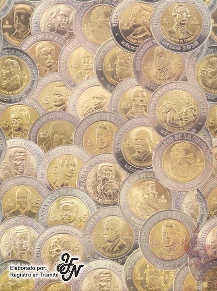 Contraportada del album coleccionador de monedas conmemorativas de cinco pesos mexicanas