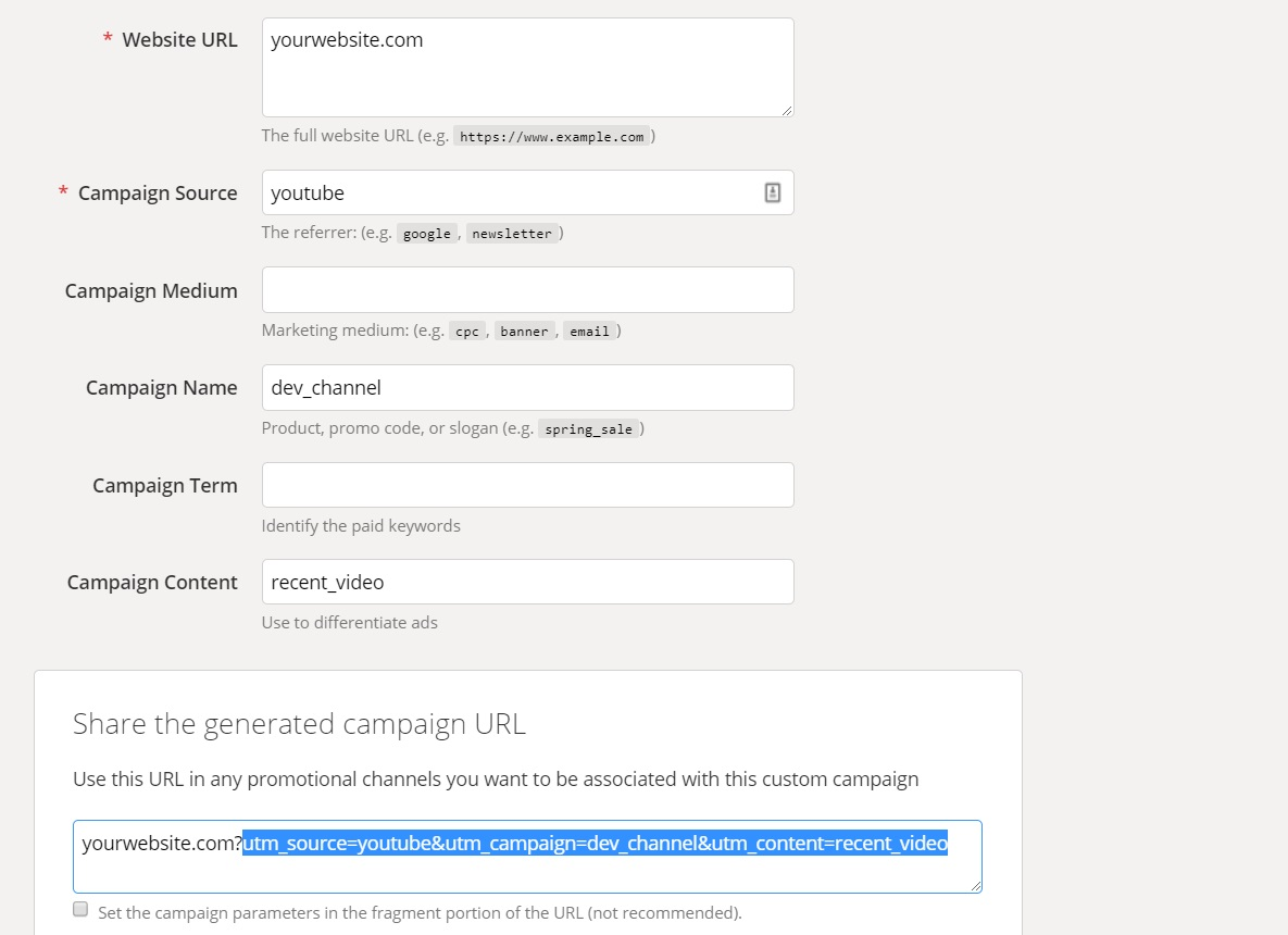 Screenshot of Google Campaign URL builder.