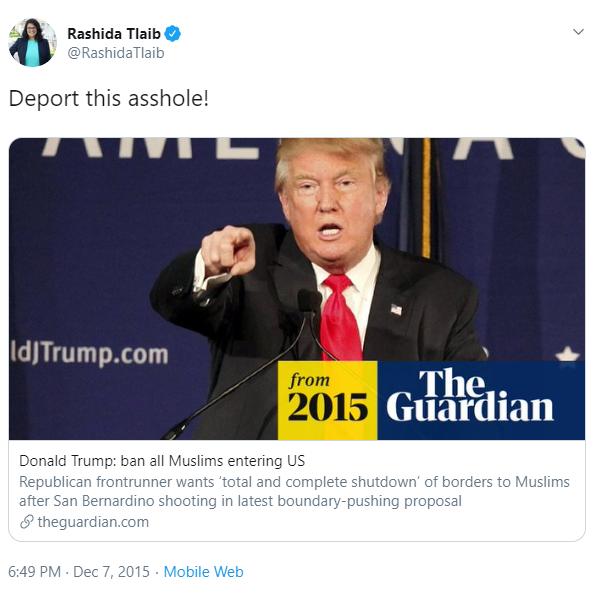 Rashida Tlaib deport asshole