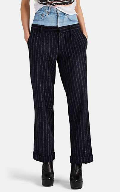 Forte Dei Marmi Couture Striped Wool-Blend and Denim High Rise Pants