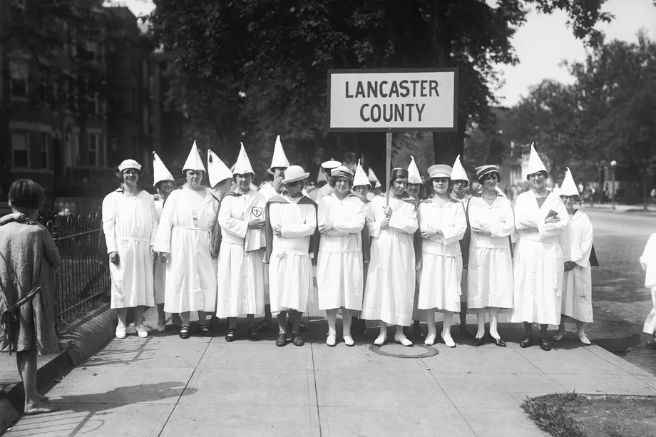 Women members of the Ku Klux Klan from Lancaster County, Pennsylvania, arrive in Washington, DC, for a KKK parade, circa 1920. Bettmann Archive via Getty Images