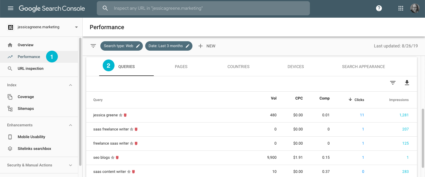 find keywords you're ranking for in google search console