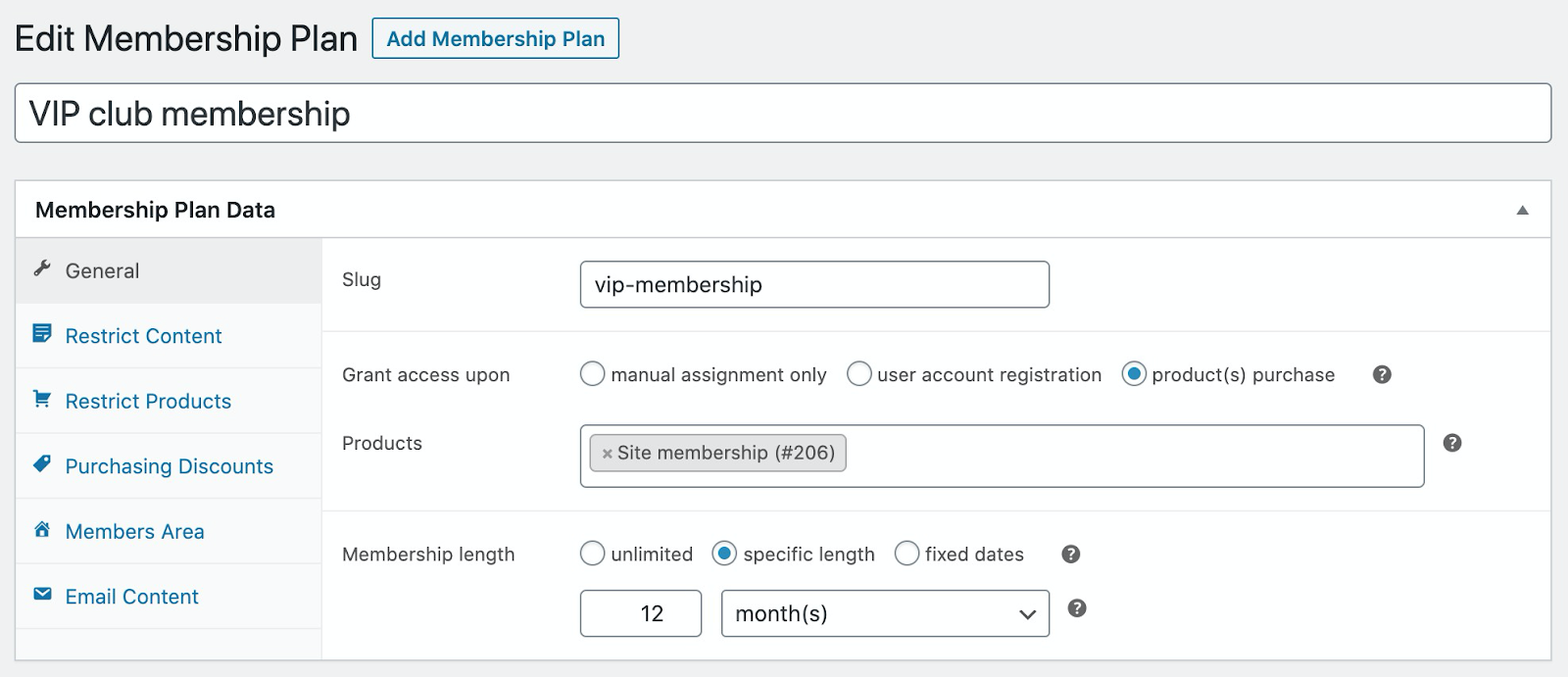 General settings for a membership plan, including how to grant access and membership length.