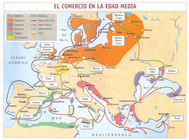 MAPA DEL COMERCIO EN LA EDAD MEDIA